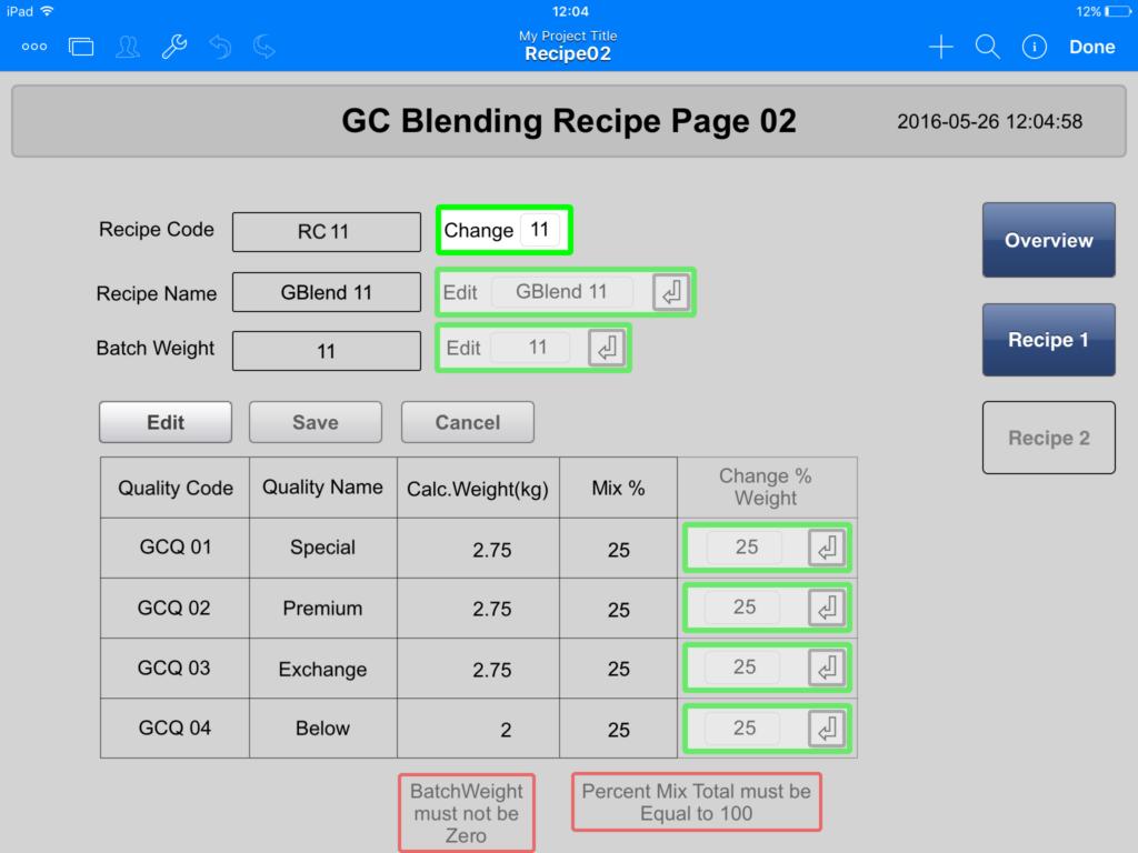 Mobile Process Control - Recipe